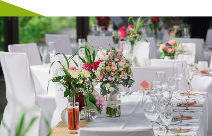 dekorierte Tische für hochzeit